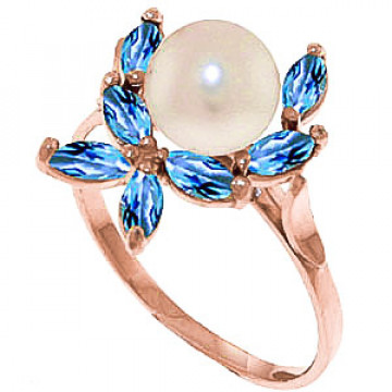 Pearl & Blue Topaz Ivy Ring in 9ct Rose Gold