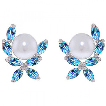 Pearl & Blue Topaz Ivy Stud Earrings in 9ct White Gold