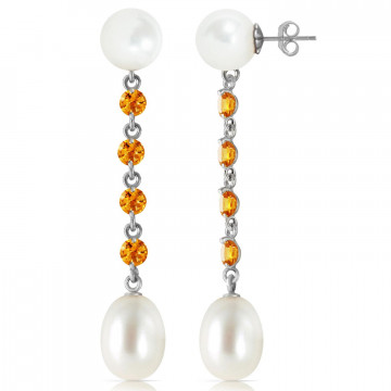 Pearl & Citrine by the Yard Drop Earrings in 9ct White Gold