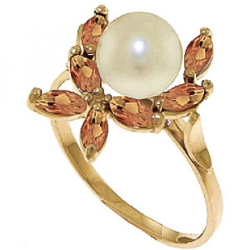 Pearl & Citrine Ivy Ring in 9ct Gold