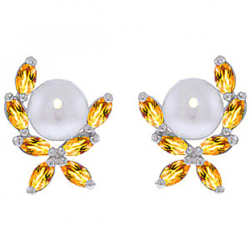 Pearl & Citrine Ivy Stud Earrings in 9ct White Gold