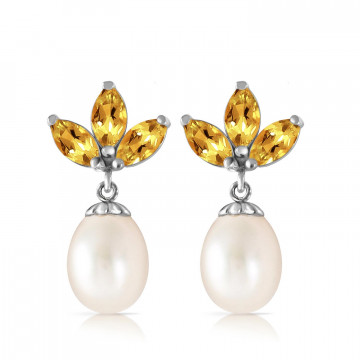 Pearl & Citrine Petal Drop Earrings in 9ct White Gold