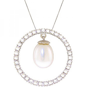 Pearl & Diamond Circle of Life Pendant Necklace in 9ct White Gold