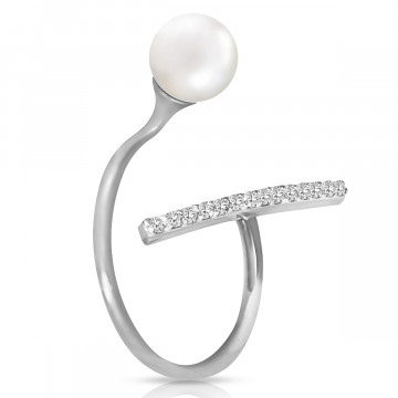 Pearl & Diamond Ring in Sterling Silver
