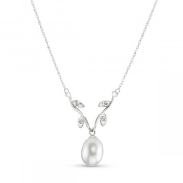 Pearl & Diamond Vine Branch Pendant Necklace in 9ct White Gold