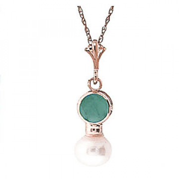 Pearl & Emerald Dazzle Pendant Necklace in 9ct Rose Gold