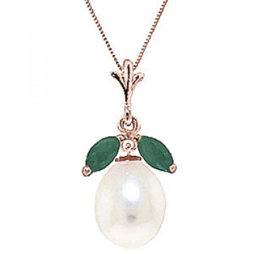 Pearl & Emerald Pear Drop Pendant Necklace in 9ct Rose Gold