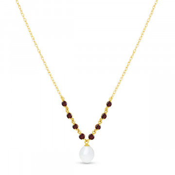 Pearl & Garnet by the Yard Pendant Necklace in 9ct Gold