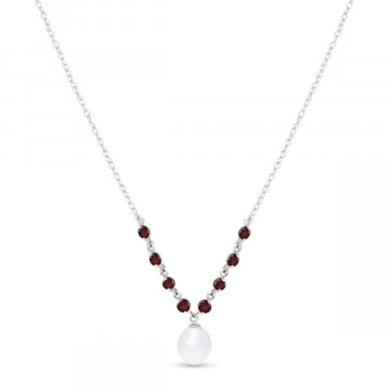 Pearl & Garnet by the Yard Pendant Necklace in 9ct White Gold