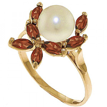 Pearl & Garnet Ivy Ring in 9ct Gold