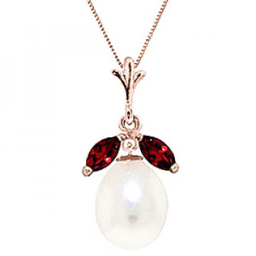Pearl & Garnet Pear Drop Pendant Necklace in 9ct Rose Gold