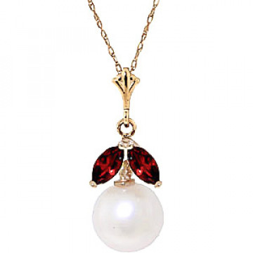 Pearl & Garnet Snowdrop Pendant Necklace in 9ct Gold