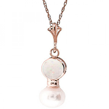 Pearl & Opal Dazzle Pendant Necklace in 9ct Rose Gold
