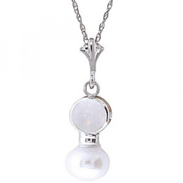 Pearl & Opal Dazzle Pendant Necklace in 9ct White Gold