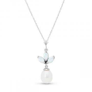 Pearl & Opal Petal Pendant Necklace in 9ct White Gold