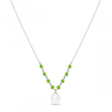 Pearl & Peridot by the Yard Pendant Necklace in 9ct White Gold