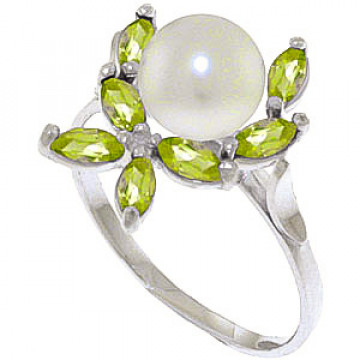 Pearl & Peridot Ivy Ring in 9ct White Gold