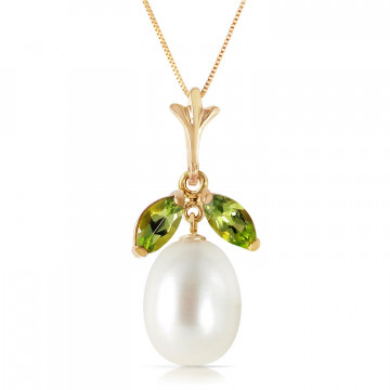 Pearl & Peridot Pear Drop Pendant Necklace in 9ct Gold