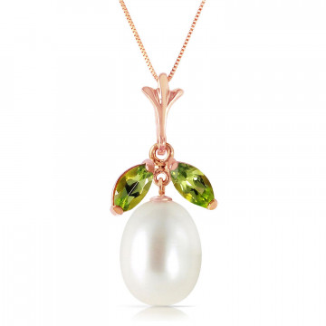 Pearl & Peridot Pear Drop Pendant Necklace in 9ct Rose Gold