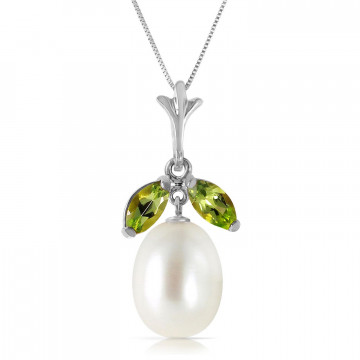 Pearl & Peridot Pear Drop Pendant Necklace in 9ct White Gold