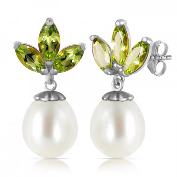 Pearl & Peridot Petal Drop Earrings in 9ct White Gold