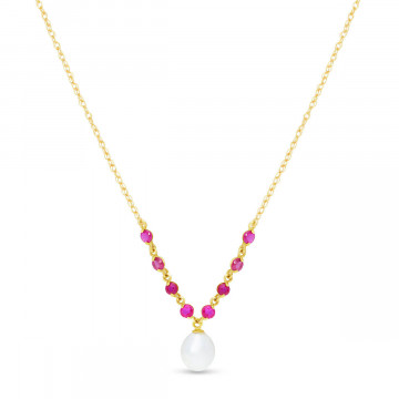Pearl & Ruby by the Yard Pendant Necklace in 9ct Gold