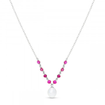 Pearl & Ruby by the Yard Pendant Necklace in 9ct White Gold