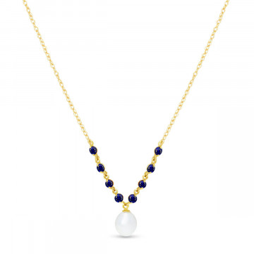 Pearl & Sapphire by the Yard Pendant Necklace in 9ct Gold