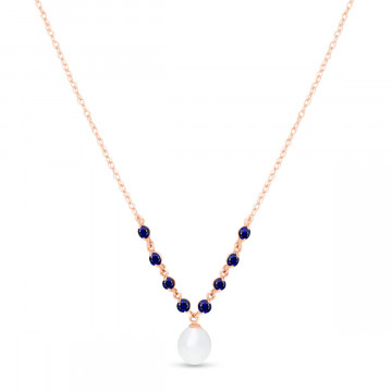 Pearl & Sapphire by the Yard Pendant Necklace in 9ct Rose Gold