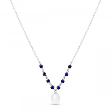 Pearl & Sapphire by the Yard Pendant Necklace in 9ct White Gold