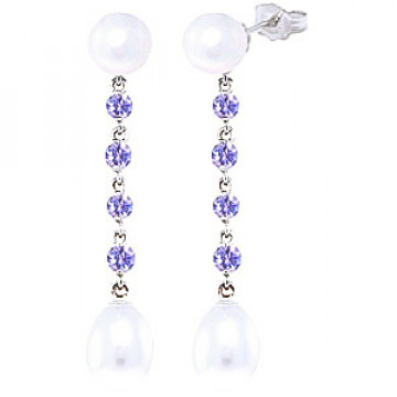 Pearl & Tanzanite by the Yard Drop Earrings in 9ct White Gold