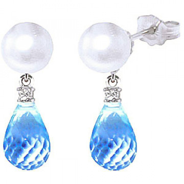 Pearl, Diamond & Blue Topaz Stud Earrings in 9ct White Gold