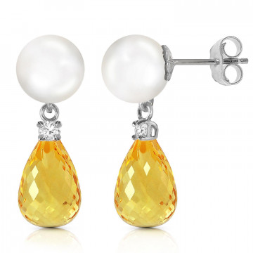 Pearl, Diamond & Citrine Stud Earrings in 9ct White Gold