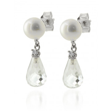 Pearl, Diamond & White Topaz Stud Earrings in 9ct White Gold