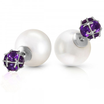Pearl Double Shell Stud Earrings 68.2 ctw in 9ct White Gold