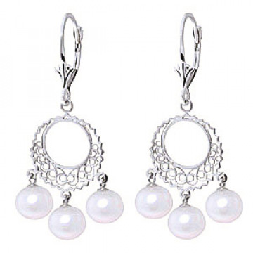 Pearl Drop Earrings 12 ctw in 9ct White Gold