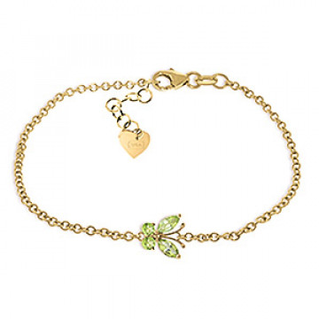 Peridot Adjustable Butterfly Bracelet 0.6 ctw in 9ct Gold