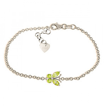 Peridot Adjustable Butterfly Bracelet 0.6 ctw in 9ct White Gold