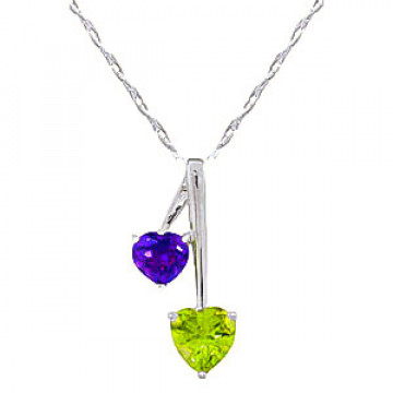 Peridot & Amethyst Twin Pendant Necklace in 9ct White Gold
