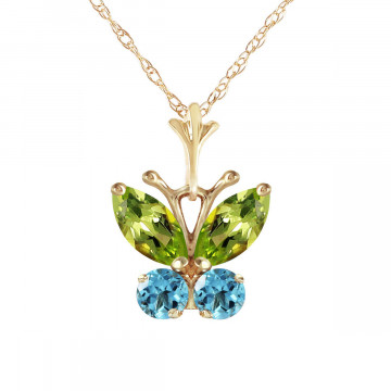Peridot & Blue Topaz Butterfly Pendant Necklace in 9ct Gold