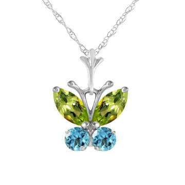 Peridot & Blue Topaz Butterfly Pendant Necklace in 9ct White Gold
