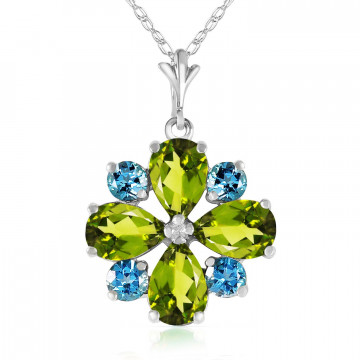 Peridot & Blue Topaz Sunflower Pendant Necklace in 9ct White Gold