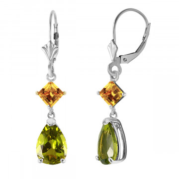 Peridot & Citrine Droplet Earrings in 9ct White Gold