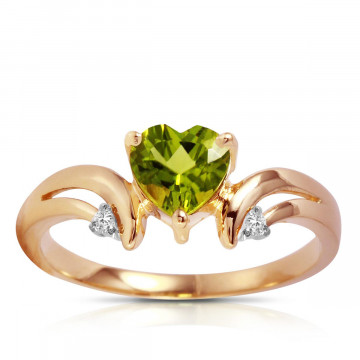 Peridot & Diamond Affection Heart Ring in 9ct Rose Gold