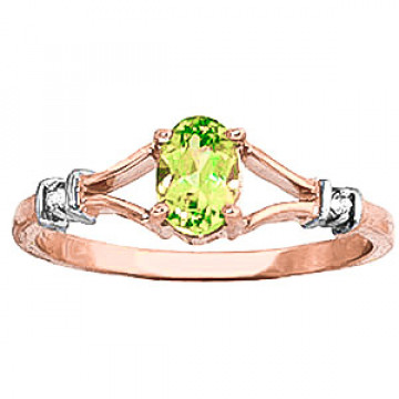 Peridot & Diamond Aspire Ring in 9ct Rose Gold