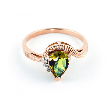 Peridot & Diamond Belle Ring in 9ct Rose Gold
