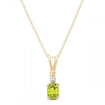 Peridot & Diamond Cap Oval Pendant Necklace in 9ct Gold