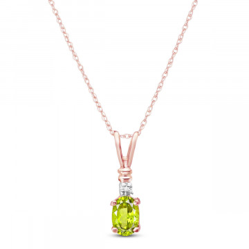 Peridot & Diamond Cap Oval Pendant Necklace in 9ct Rose Gold