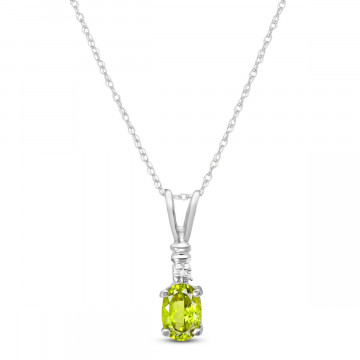 Peridot & Diamond Cap Oval Pendant Necklace in 9ct White Gold