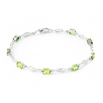 Peridot & Diamond Classic Tennis Bracelet in 9ct White Gold